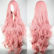 100CM Pink Shaggy Long Curly Side Bang Vocaloid Megurine Luka Cosplay Wig