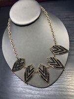 "Ladies Black Faceted cabochons gold Tone Lucite rhinestone Bib Necklace 16"""