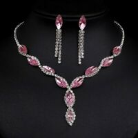 Pale Pink Crystal Diamante Bridal Wedding Prom Necklace And Earrings Set