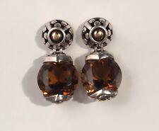 John Hardy Sterling Silver 18K Batu Sari Round Cognac Quartz  Drop Earrings
