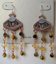 Tiger's Eye & Citrine with Copper & Sterling Silver New Barse Earrings MSRP $65