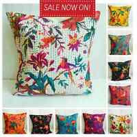 "Indian Ethnic Cotton Floral Kantha Cushion Cover Covers Handmade 16"" Birds 40 cm"