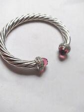 David yurman sterling silver 7mm cable candy cuff pink tourmaline and diamond