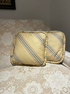 SET OF 2 CUSTOM SILK DECORATIVE PILLOWS YELLOW GREEN STRIPE FRENCH COUNTRY 16x16