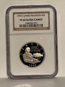 1993 S James Madison Commemorative Silver Half Dollar Proof PR69 DCAM NGC