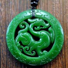 Wunderschöner Drache Jade-Anhänger mit 70cm Grün Halskette Unikat Amulett CHINA