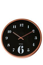 NEW Salt&Pepper Zone 50cm Black Face Rose Gold Rim Wall Clock