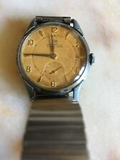 Vintage Antique Ingersoll Seven Jewel Lever Stainless Steel Mens Watch - Working