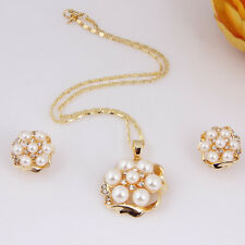18K Gold Plated Imitation Pearl Flower Necklace Earrings African Jewelry Sets