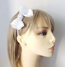 Beautiful white bow headband - aliceband with pretty rhinestone detail