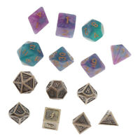 14pcs Metal Dice Role Playing Game for DND Math Teaching Party Game