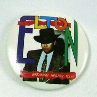 1984 Vintage Promotional Pin Back Button ELTON JOHN Breaking Hearts Tour