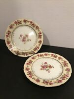 "Pair Of Vintage Gold Castle HOSTESS 7 1/2"" Dessert Plates"