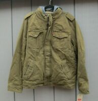 "Mens Levi's Jacket Fleece Lined Hooded 4 Pocket Khaki Double Zip Med 42"" Chest"