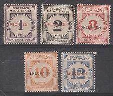 FEDERATED MALAY STATES 1924 POSTAGE DUE SPECIMEN RANGE TO 12C