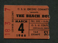 1966 Beach Boys Concert Ticket Stub OSU Oregon Summer Days California Girls