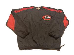 Majestic Cincinnati Reds 1/4 Zip Pullover Black Jacket Windbreaker Size M
