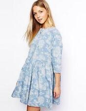 Round Neck 3/4 Sleeve Denim Dresses for Women