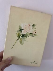 "Vintage Hallmark ""Rose Parchment"" Stationary Set In Box"