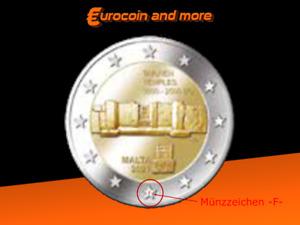 2 Euro Malta 2021 Tarxien Temples aus KMS Dated Set mit Münzzeichen -F-