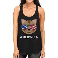 Ameowica Womens Black Graphic Tank Top Cute Cate Design Tanks