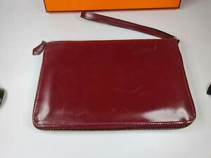 Portefeuille HERMES cuir rouge vintage