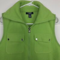 Chaps Sport Fleece Vest Women's Size Small Lime Green Full Zip