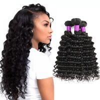 Bresilian Weave in Bundle Deep Wave Curly Virgin Hair Weave 3 Bundles Human Hair