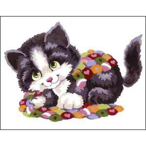 Collection D'Art Stamped Needlepoint Kit 20X25cm Patchwork Kitten 499993852145