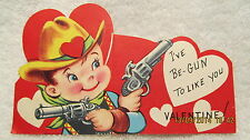 1960s Valentine Cowboy With Guns Pistols & Heart on Hat Signed To A Dumb Kid
