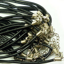 3mm 20pcs Black Real Genuine Leather Necklace Cord