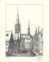 VINTAGE AUSTRIA INNSBRUCK PENCIL SIGNED S/N L/E RIETMEYER 8/100 CHURCH ART PRINT
