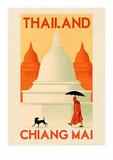 "travel vintage thailand chiang mai poster art glass frame 36"" painting"