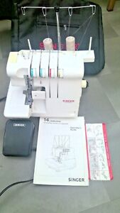 Singer 14U444B Double Needle Ultralock Sewing Machine foot pedal new Carry Case