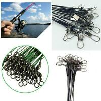 20Pcs Fishing Traces Wire Leader Anti-bite Stainless Steel Lures Hook Swivel