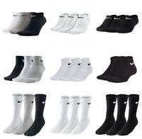 Nike Kids Junior 3 Pair Socks Boys Ankle Crew Cotton Sports Black White