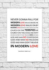 David Bowie - Modern Love - Song Lyric Art Poster - A4 Size