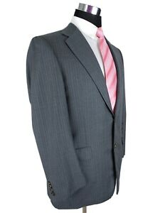 Hickey Freeman Blue Pinstripe Gray Wool Suit Jacket Blazer Loro Piana 38/39R