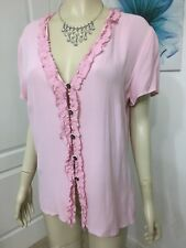 MARKS & SPENCER SIZE 12 SOFT PINK FRILLY BLOUSE IN VERY GOOD CONDITION