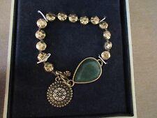 NWT LUCKY BRAND Hammer Brass Bracelet w/LG Semi Precious Stone & Crystal Disc