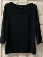 Talbots Womens L Round Neck 3/4 Sleeve Large Button Up Popover Shirt Top Black