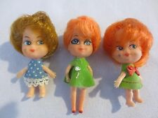 "3 Vintage Gumball Machine Toy dolls 2 1/2"" tall and 2 3/4"" tall"