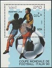 "LAOS Bloc N°103** Football ""Italia 90"", 1989 Italy Soccer world cup Sheet MNH"