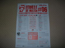 Feuille de match N°06 ASNL  Nancy - Paris Saint Germain - P.S.G. (2012-2013)