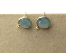 5 Pairs Blue Chalcedony Stud Earring Supplies Findings With Bail GDS1041/10