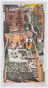 Back Garden Redcliffe Rd London Edward Bawden print in 11 x 14 mount SUPERB