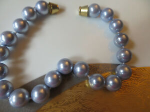 Lavender blue Pearls/20mm/simulated/CHOKER/plated gold clasp/21 ins/choker