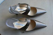 Manolo Blahnik 35 1/2 NWOT taupe satin ankle wrap 3 1/4 in. heels