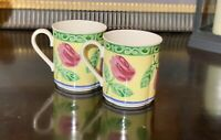 Villeroy & Boch Switch Summerhouse A Rose Cups Mugs Pink Roses 8 oz Set of 2