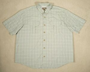 Duluth Trading Co. Mens 2XL Gray Green Short Sleeve Button Down Shirt Vented